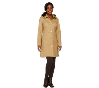 Isaac Mizrahi Live! Water Repellant Button Front Coat - A260855