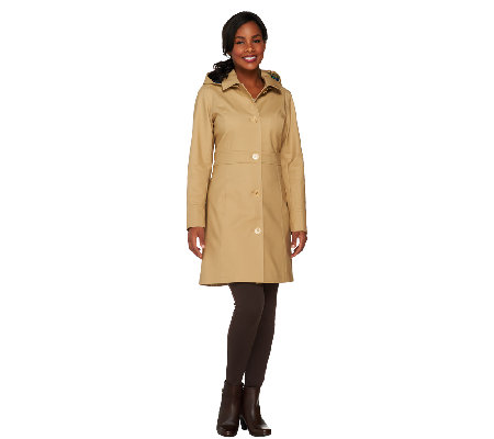 Isaac Mizrahi Live! Water Repellant Button Front Coat