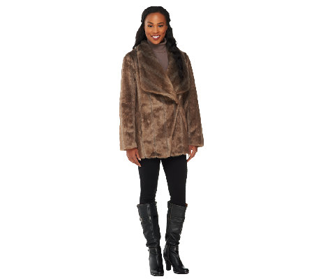 Dennis Basso Platinum Collection Faux Pelted Mink Jacket