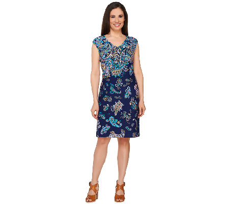 Isaac Mizrahi Live! Engineered Printed Paisley Ponte Dress