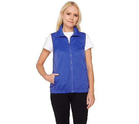 Denim & Co. Active Woven Windbreaker Zip Front Vest