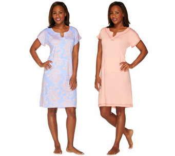 Stan Herman Ultra Jersey Solid & Print Shift Lounge Dress Set - A262955