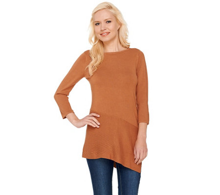 Linea by Louis Dell'Olio Whisper Knit Asymmetrical Hem Tunic