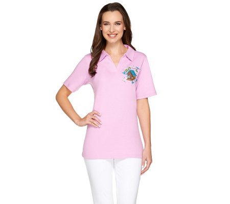 Quacker Factory Petite Fleur Short Sleeve Polo Shirt