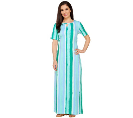 Denim & Co. Vertical Stripe Short Sleeve Maxi Dress