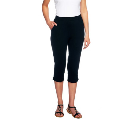 """As Is"" Denim & Co. Active Regular French Terry Slim Leg Capri Pants"