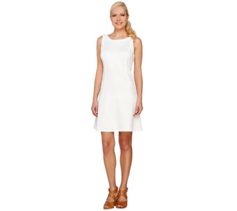 Styled by Joe Zee Sleeveless Drop Waist Pique Dress - A264955