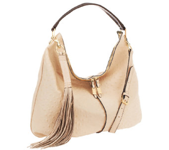 """As Is"" G.I.L.I. Milano Double Zip Exotic Leather Hobo - A266155"