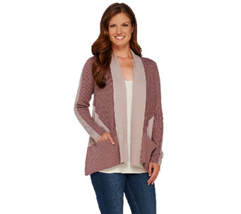LOGO by Lori Goldstein Mixed Knit Color-Block Cardigan - A266755