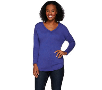 H by Halston V-neck Pullover Sweater with Ribbed Long Sleeves - A270255