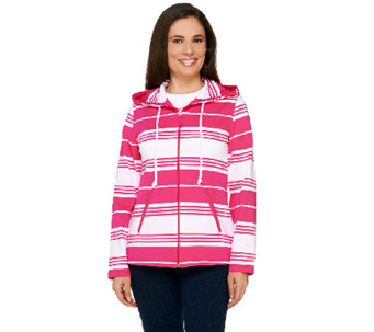 """As Is"" Susan Graver Weekend Striped French Terry Zip Front Jacket w/Hood - A270855"