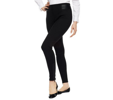 """As Is""Jennifer Hudson Collection Legging w/ Faux Leather Trim"