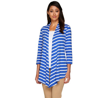 """As Is"" Susan Graver Weekend Striped Cotton Modal 3/4 Sleeve Cardigan"