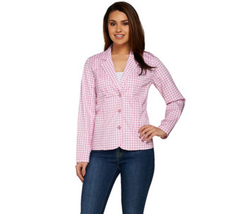 Denim & Co. Long Sleeve Gingham Jacket with Button Closures - A275255