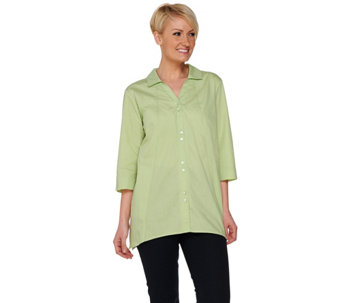 Joan Rivers Boyfriend Shirt with Asymmetric Hem and 3/4 Sleeve - A275355