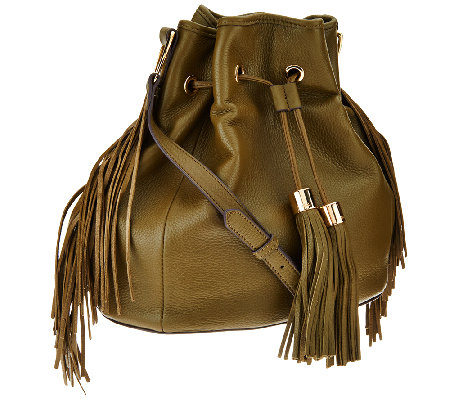 """As Is"" G.I.L.I Pebble Leather Drawstring Bag with Fringe"