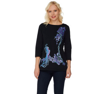 Bob Mackie's Embroidered and Sequined Bird of Paradise Top - A276855