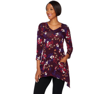 LOGO by Lori Goldstein Printed Knit Top with Pockets - A279455