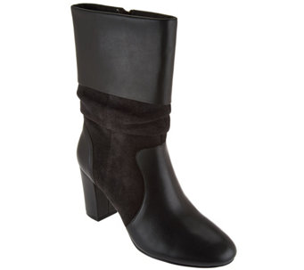 C. Wonder Leather and Suede Mid-Calf Slouch Boots - Amanda - A279955