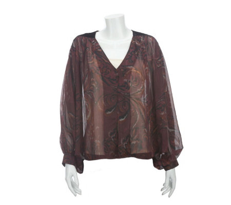 """As Is"" Nicole Richie Collection Printed Blouse w/Velvet Detail"