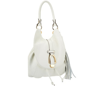 """As Is"" G.I.L.I Leather Convertible Backpack - Winter White - A280655"