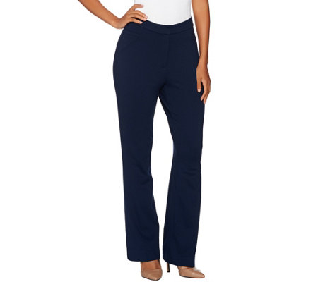 Susan Graver Regular Ponte Knit Zip Front Boot Cut Pants