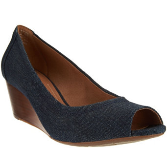 """As Is"" Clarks Artisan Peep-toe Wedges - Burmese Art - A283555"