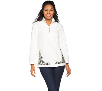 Bob Mackie's Botanical Hem Embroidery Fleece Pull-Over - A284355
