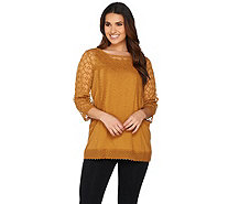LOGO by Lori Goldstein Cotton Slub Knit Top with Crochet Detail - A285355