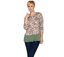 LOGO by Lori Goldstein Cotton Modal Printed Top w/ Broomstick Hem - A286955