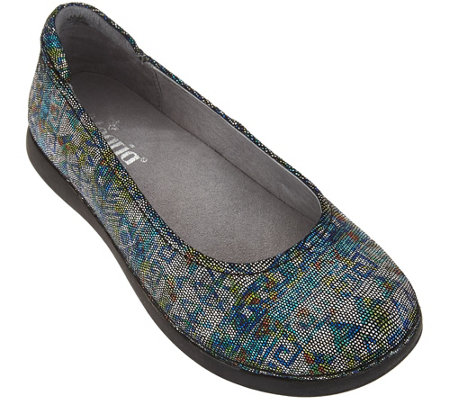 """As Is"" Alegria Leather Slip-on Flats - Petal"