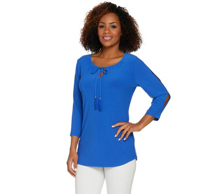 Susan Graver Textured Liquid Knit Split Sleeve Top