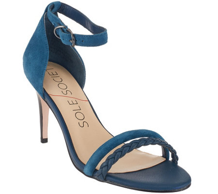 """As Is"" Sole Society Suede Ankle Strap Open-toe Pumps - Sher"