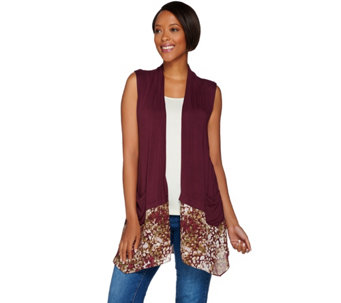 """As Is"" LOGO by Lori Goldstein Knit Vest with Printed Trim and Pockets - A288455"