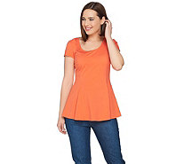 Isaac Mizrahi Live! Scoop Neck Knit Peplum Top with Godets - A288655