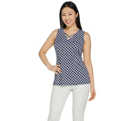 Susan Graver Printed Liquid Knit V-Neck Tank