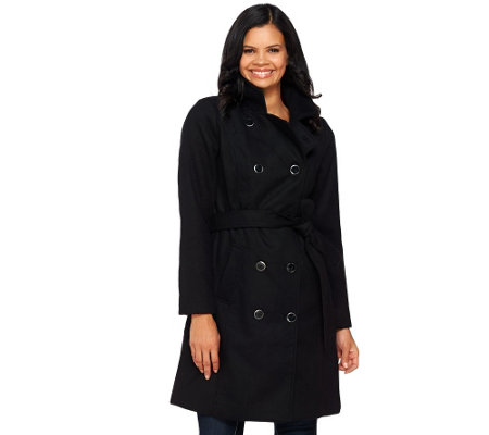 """As Is"" Isaac Mizrahi Live! Doulbe Breasted Peacoat with Belt"
