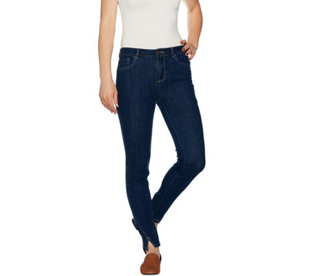 LOGO by Lori Goldstein Regular Skinny Jeans w/ Seams & Notch Detail