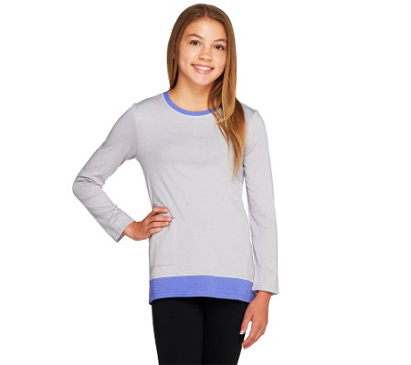 """As Is"" LOGO Littles by Lori Goldstein Knit Top w/Contrast Trim and Pckts"