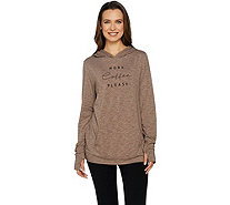 AnyBody Loungewear Cozy Knit Jersey Message Hoodie - A292755