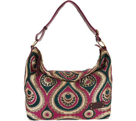 Mushmina Woven Pattern Hobo Bag w/ Leather Strap