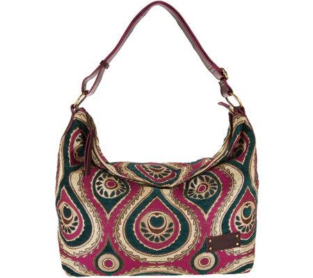 Mushmina Woven Pattern Hobo Bag w/ Leather Strap - Page 1 — QVC.com