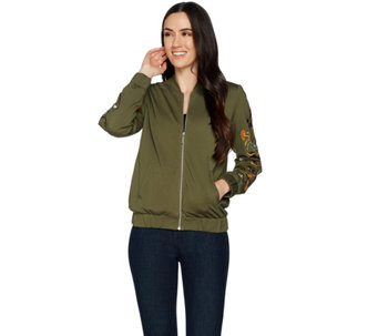 Du Jour Zip Front Embroidered Ponte Knit Bomber Jacket - A296455
