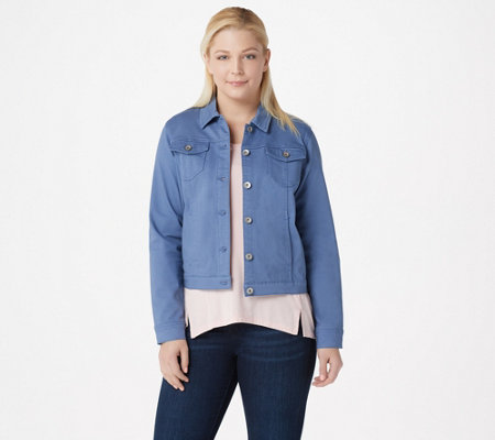 Susan Graver Stretch Twill Button Front Jacket