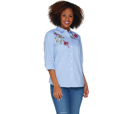 Denim & Co. Floral Embroidered Button Front 3/4 Sleeve Top