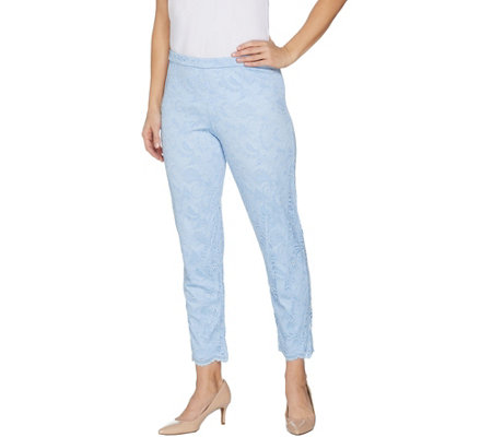 """As Is"" Isaac Mizrahi Live! Regular Stretch Knit Lace Ankle Pants"