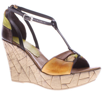 Azura by Spring Step Leather T-Strap Wedges - Immix - A336755