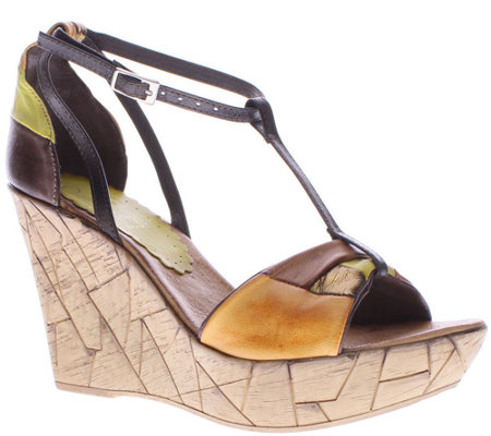 Azura by Spring Step Leather T-Strap Wedges - Immix