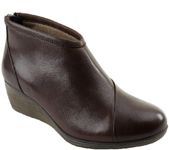 Eastland Leather Wedge Booties with Back Zip -Arianna - A337955