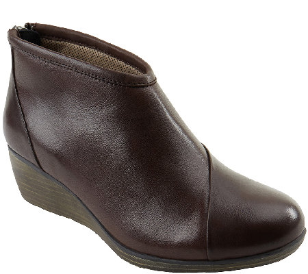 Eastland Leather Wedge Booties with Back Zip -Arianna